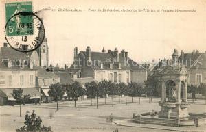 AK / Ansichtskarte Chateaudun Place du 18 Oct clocher de St Valerien et Fontaine Monumentale Chateaudun