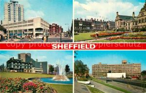AK / Ansichtskarte Sheffield Moorhead and Grosvenor House Midland Station Roundabout Town Hall St Paul s Gardens College Sheffield