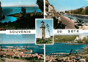 AK / Ansichtskarte Sete_Cette Kuestenpanorama Hafen Leuchtturm Kanal