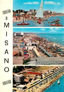 AK / Ansichtskarte Misano_Adriatico Spiaggia Strand Hotels Restaurants Fliegeraufnahme Misano Adriatico