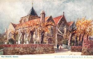 AK / Ansichtskarte Rye_East_Sussex Church Drawing Kuenstlerkarte Rye_East_Sussex