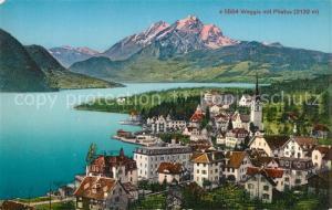 AK / Ansichtskarte Weggis_Vierwaldstaettersee Gesamtansicht mit Blick zum Pilatus Weggis_Vierwaldstaettersee
