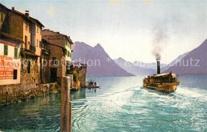 AK / Ansichtskarte Gandria_Lago_di_Lugano Panorama Dampfer Gandria_Lago_di_Lugano