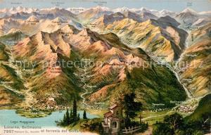 AK / Ansichtskarte Locarno_Lago_Maggiore avec Bellinzona et ferrovia del Gottardo Locarno_Lago_Maggiore