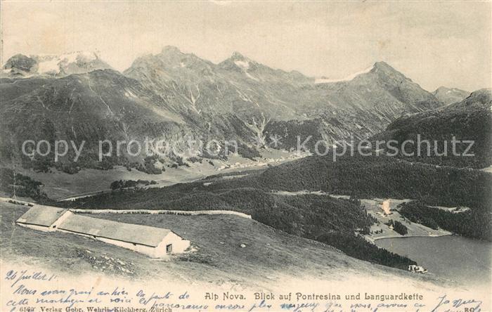 AK / Ansichtskarte Pontresina mit Languardkette und Alp Nova Pontresina 0
