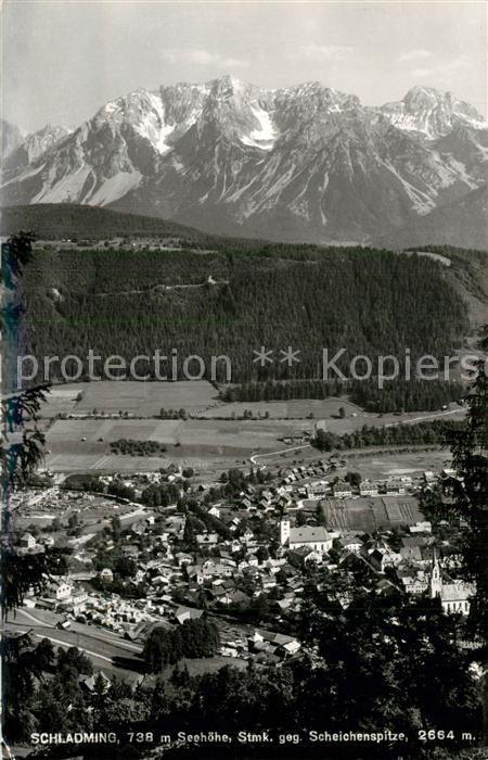 AK / Ansichtskarte Schladming_Obersteiermark Gesamtansicht mit Blick zur Scheichenspitze Dachsteingebirge Schladming_Obersteiermark 0