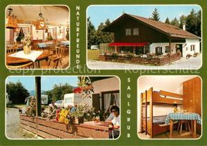 AK / Ansichtskarte Saulgrub Naturfreundehaus Gastraum Fremdenzimmer Terrasse Saulgrub