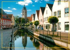 AK / Ansichtskarte Memmingen Stadtbach mit Blick zur Unser Frauen Kirche Memmingen