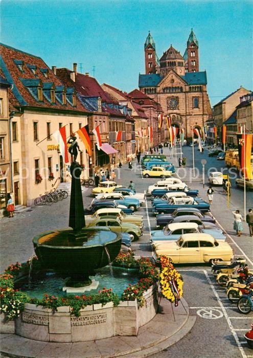 AK / Ansichtskarte Speyer_Rhein Brunnen Innenstadt Blick zum Dom Speyer Rhein 0
