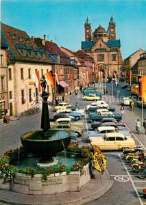AK / Ansichtskarte Speyer_Rhein Brunnen Innenstadt Blick zum Dom Speyer Rhein