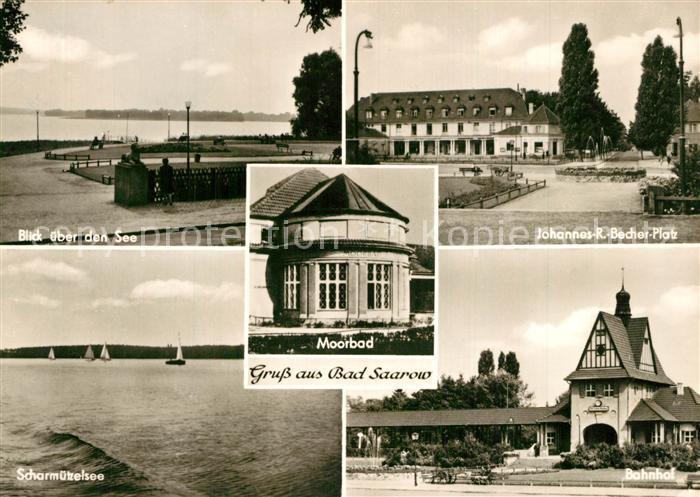 AK / Ansichtskarte Bad_Saarow Uferpartie Scharmuetzelsee Moorbad Johannes R. Becher Platz Bahnhof Bad_Saarow 0