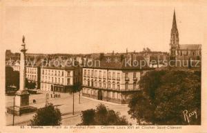 AK / Ansichtskarte Nantes_Loire_Atlantique Place du Marechal Foch Colonne Louis XVI et Clocher Saint Clement Nantes_Loire_Atlantique