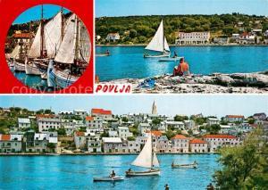 AK / Ansichtskarte Povlja Hafen Fischkutter Haeuserpartie am Hafen Segeln Povlja