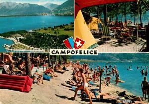 AK / Ansichtskarte Campofelice Campingplatz Badestrand Lago Maggiore Alpen Campofelice