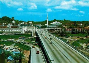AK / Ansichtskarte Kuala_Lumpur Bird s eye view of Masjid Negara National Mosque Railway Station Federal Highway Kuala_Lumpur