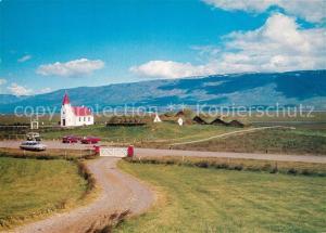 AK / Ansichtskarte Island Farm and church seen from the main road Island