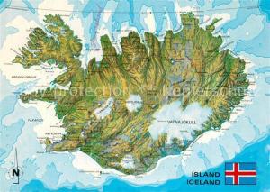 AK / Ansichtskarte Island uebersichtskarte Flagge Island