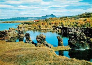 AK / Ansichtskarte Island Rocky inlet of Lake Myvatn Landschaftspanorama Island