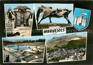 AK / Ansichtskarte Marvejols La Porte du Soubeyran et la Statue d'Henri IV La Piscine La Bete du Gevauden Vue generale et Pic du Midi Marvejols
