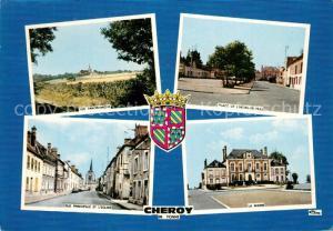 AK / Ansichtskarte Cheroy Vue panoramique Place de l'Hotel de Ville Rue Principale et l'Eglise La Mairie Cheroy
