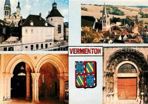 AK / Ansichtskarte Vermenton Le Meridien et l'eglise Notre Dame Vue generale Interieur de l'eglise et portail roman Vermenton