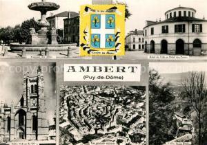 AK / Ansichtskarte Ambert Fontaine des Allies Hotel de Ville et Hotel des Postes Eglise St Jean Vue generale aerienne Vallee de la Boule Ambert