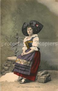 AK / Ansichtskarte Alsace_Elsass Type d Alsacienne Reverie Costumes Trachten Alsace Elsass