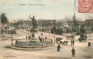 AK / Ansichtskarte Agen_Lot_et_Garonne Place du XIV Juillet Monument Statue Agen_Lot_et_Garonne