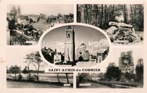 AK / Ansichtskarte Saint Aubin du Cormier Vue generale Fontaine Etang Tour Eglise Saint Aubin du Cormier