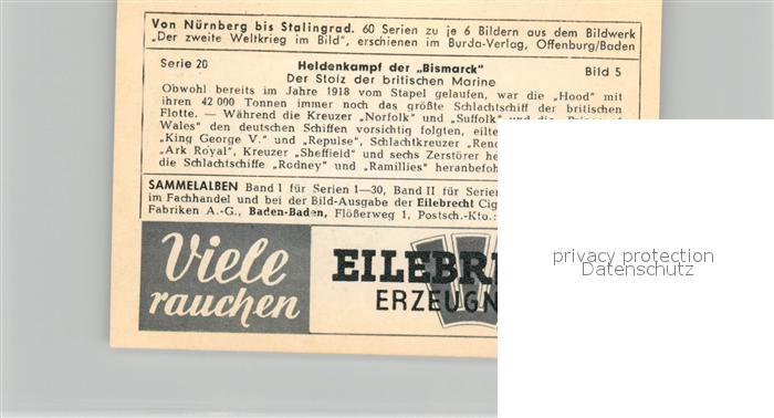 AK / Ansichtskarte Militaria_Deutschland_WK2 Von N?rnberg bis Stalingrad Heidenkampf der Bismarck Britische Marine Eilebrecht Zigaretten  1