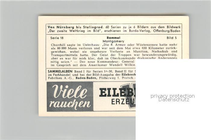 AK / Ansichtskarte Militaria_Deutschland_WK2 Von N?rnberg bis Stalingrad Rommel Montgomery Eilebrecht Zigaretten  1