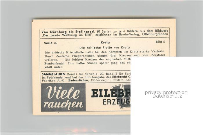 AK / Ansichtskarte Militaria_Deutschland_WK2 Von N?rnberg bis Stalingrad Kreta Britische Flotte Eilebrecht Zigaretten  1