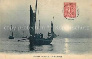 AK / Ansichtskarte Berck Plage Coucher de soleil bateau de peche Berck Plage