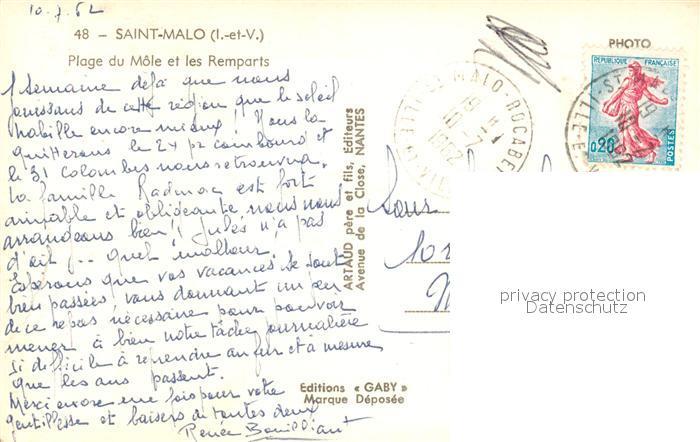 AK / Ansichtskarte Saint Malo_Ille et Vilaine_Bretagne Plage du Mole et les Remparts Saint Malo_Ille et Vilaine 1