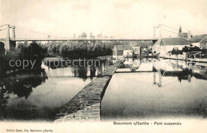 AK / Ansichtskarte Beaumont sur Sarthe Pont suspendu Beaumont sur Sarthe 0