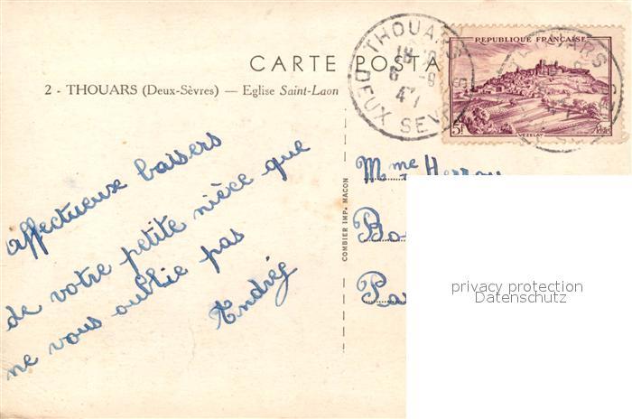 AK / Ansichtskarte Thouars_ Deux Sevres Eglise Saint Laon  1