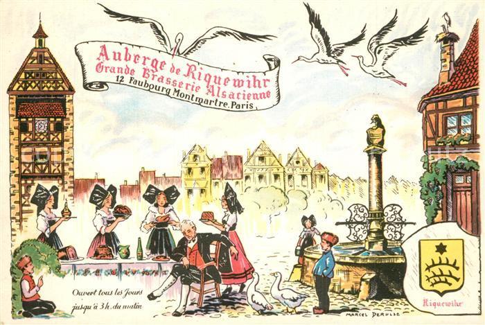 AK / Ansichtskarte Riquewihr_Haut_Rhin Auberge Grande Brasserie Alsacienne Fontaine Dessin Kuenstlerkarte Riquewihr_Haut_Rhin 0