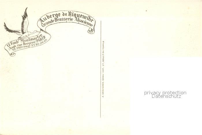 AK / Ansichtskarte Riquewihr_Haut_Rhin Auberge Grande Brasserie Alsacienne Fontaine Dessin Kuenstlerkarte Riquewihr_Haut_Rhin 1