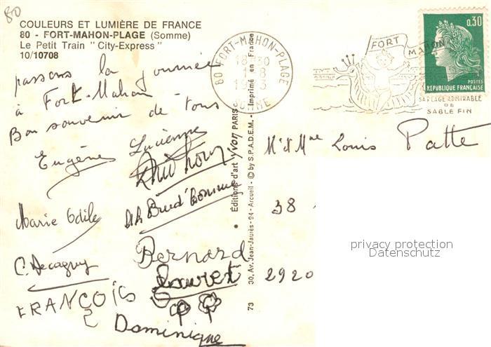 AK / Ansichtskarte Fort Mahon Plage Petit Train City Express Collection Couleurs et Lumiere de France Fort Mahon Plage 1