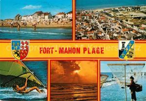AK / Ansichtskarte Fort Mahon Plage Strand Windsurfen Fischen Sonnenuntergang Fliegeraufnahme Fort Mahon Plage