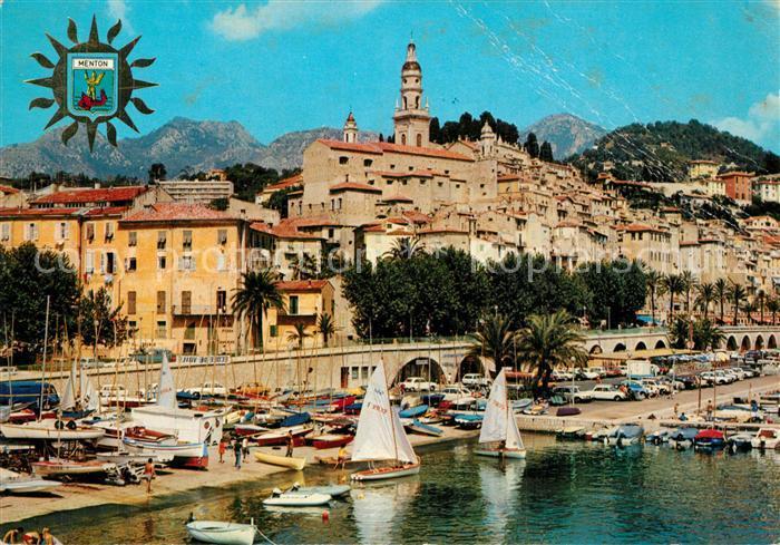 AK / Ansichtskarte Menton_Alpes_Maritimes Vieux port et la vieille ville Cote d Azur Menton_Alpes_Maritimes 0