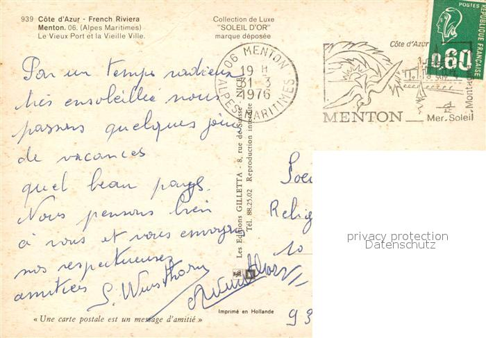 AK / Ansichtskarte Menton_Alpes_Maritimes Vieux port et la vieille ville Cote d Azur Menton_Alpes_Maritimes 1