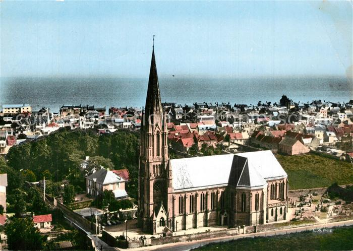 AK / Ansichtskarte Saint Aubin sur Mer_Calvados Vue panoramique Eglise vue aerienne Saint Aubin sur Mer 0