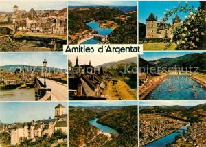 AK / Ansichtskarte Argentat Vieilles maisons au bord de la Dordogne Chateau du Gibanel et les barrages Piscine Paysage Argentat