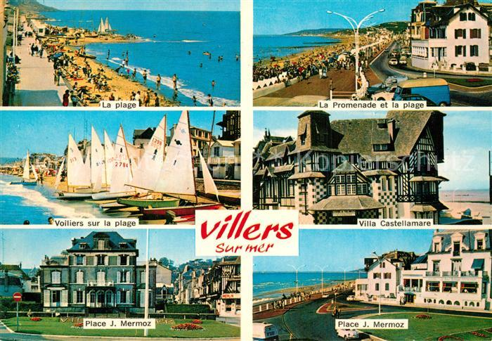 AK / Ansichtskarte Villers sur Mer Promenade Plage Voiliers Villa Castellamare Place Jean Mermoz Villers sur Mer 0