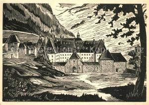 AK / Ansichtskarte Saint Pierre de Chartreuse Entree de la Grande Chartreuse Bois Original de Ch. Favet Kuenstlerkarte Saint Pierre de Chartreuse