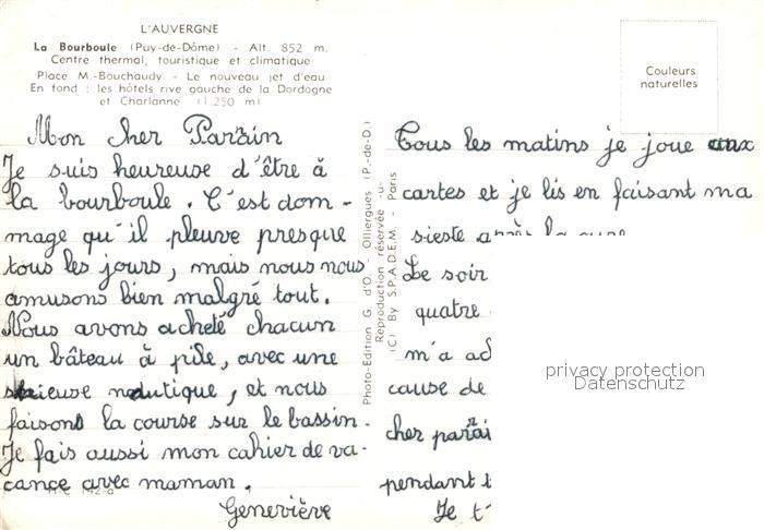 AK / Ansichtskarte La_Bourboule Place M. Bouchaudy Jet d eau Hotels La_Bourboule 1