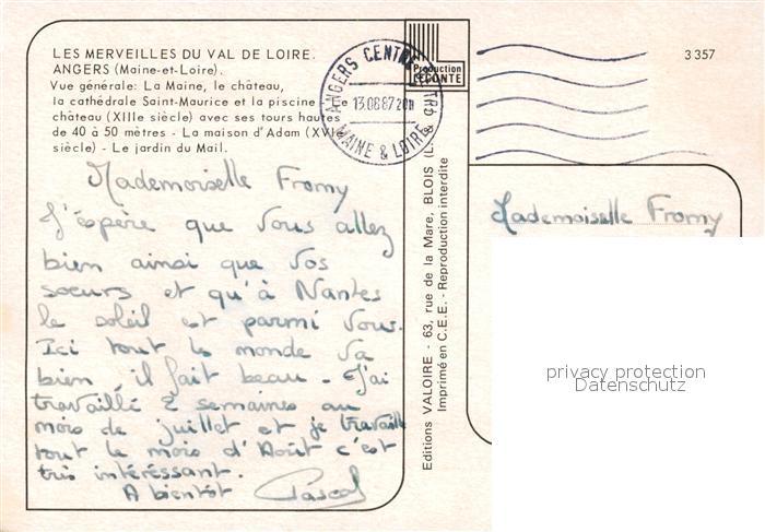 AK / Ansichtskarte Angers Vue generale La Maine Chateau Cathedrale Saint Maurice Piscine Maison d Adam Jardin du Mail Angers 1
