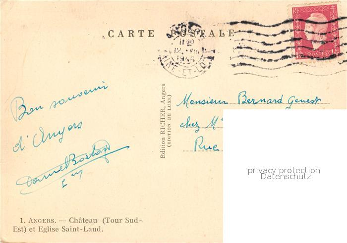 AK / Ansichtskarte Angers Chateau Eglise Saint Laud Angers 1