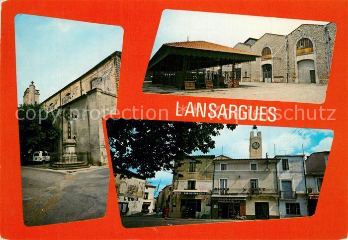 AK / Ansichtskarte Lansargues Place Saint Jean et l horloge Cave Cooperative Eglise Saint Martin Lansargues 0